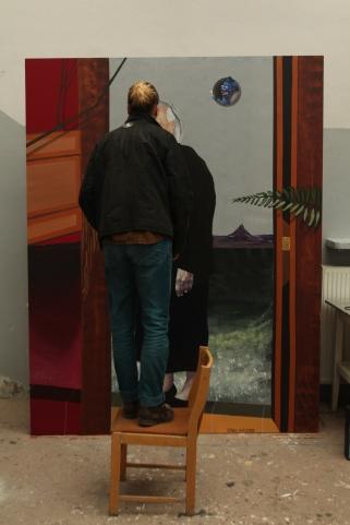 """Szaweł Płóciennik, """"Leokadia i Loleczka"""", (""""Soul Box""""), Olej/Akryl na płótnie, 200cm x 250cm, Sygnowany, Orońsko 2016"""